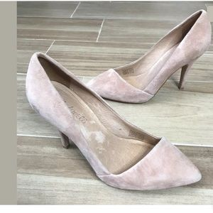 """Madewell """"Mira"""" Suede Heels Size 8 Blush Nude"""